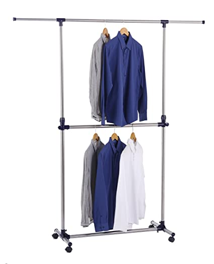 Finnhomy Adjustable Double Rails Garment Rack Portable Rolling Hanging Clothes  Racks With Casters (2 With