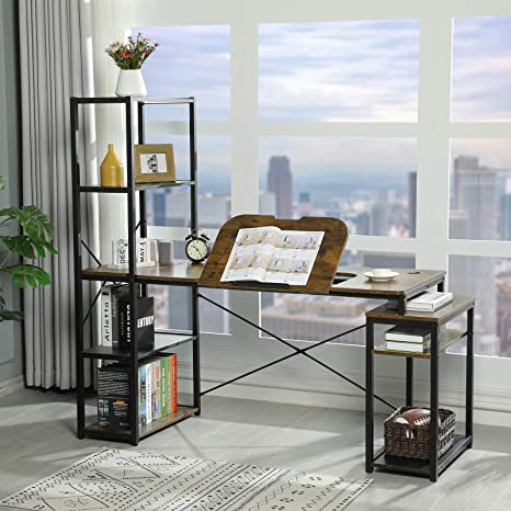 Sedeta Art Desk For Adults Industrial Computer Desk With Shelves Drafting Table For Artists Craft Table With Storage 64 Drawing Table Workstation Desk Rustic Brown Black Kitchen Dining