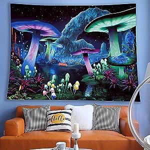 DIOVMA Psychedelic Mushroom Tapestry Fantasy Tapestry for Bedroom Wall Hanging Tapestry Wall Decor for Bedroom With Hanging Tools(29'' X 39'' 75 cm X 100 cm, Fantasy Mushroom 1)