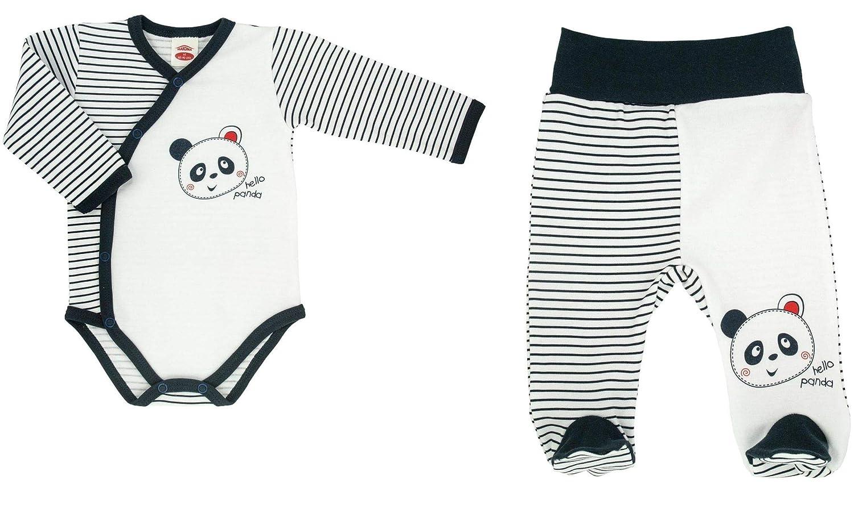 Makoma Baby Jungen Erstausstattung 2tlg. Body Wickelbody & Hose mit Fuß -Panda- (56-68)