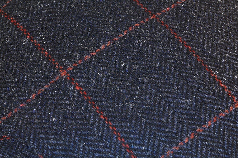 Irish Herringbone 100/% Wool Gray Flat Cap with Red Stripe