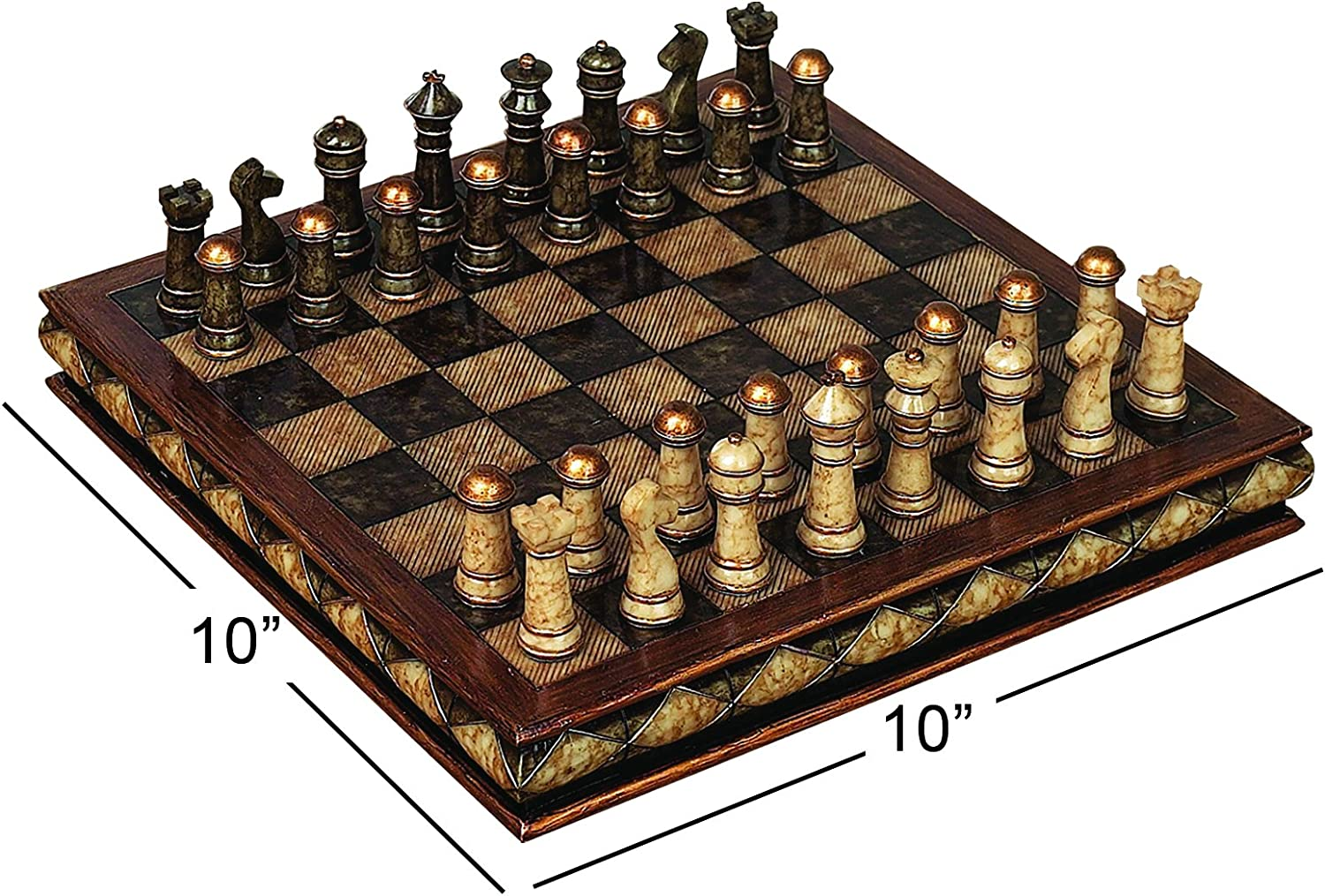 Amazon Com Deco 79 Poly Stone Chess Set 10 By 3 Inch Home Kitchen