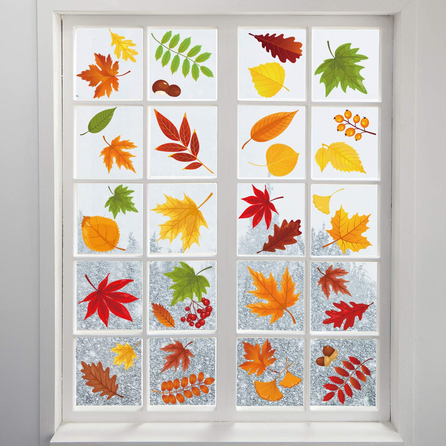 Adoreu 136PCS Fall Leaves Window Clings Autumn Thanksgiving Acorns Window Sticker Harvest Maple Decorations Autumn Decals Party Decor Ornaments (8 Sheets) by Adoreu