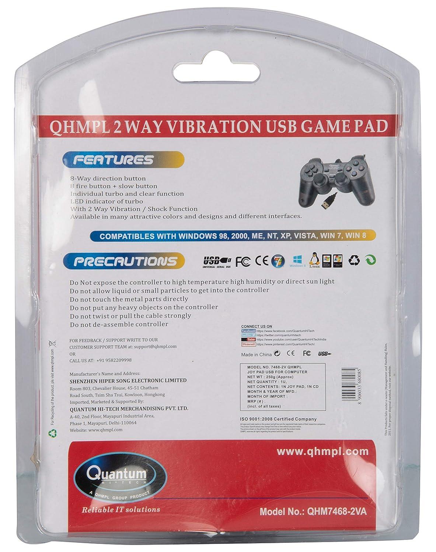 Quantum MST-1011-1 USB Dual Shock Game Pad Joystick (Black, Pack of 2)