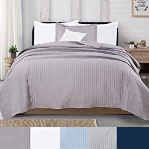 2-Piece Detailed Channel Stitch Quilt Set with Shams. Ash Gray Twin Quilt Set, All Season Bedspread Quilt Set, Alicia Collection (Twin, Ash Gray)