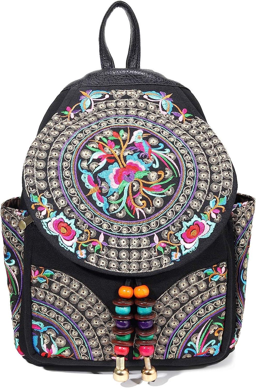Vintage Embroidered Floral Ethnic Backpack for Women Handbag School Shoulder Bag Girl Mini Travel Rucksack Purse … (Black S1)
