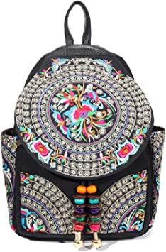 Sky blue backpack woman Flower embroidered bag made of natural fabric Women/'s zipper bag Backpack woman canvas