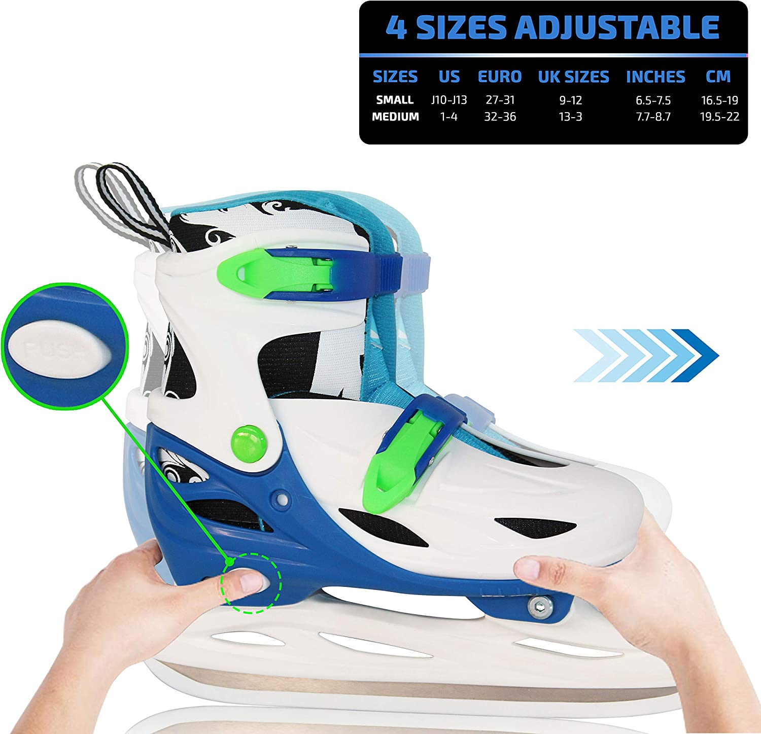 Xino Sports Adjustable Ice Skates - for Girls and Boys, Two Awesome Colors - Blue and Pink, Soft Padding and Reinforced Ankle Support, Fun to Skate! : Clothing