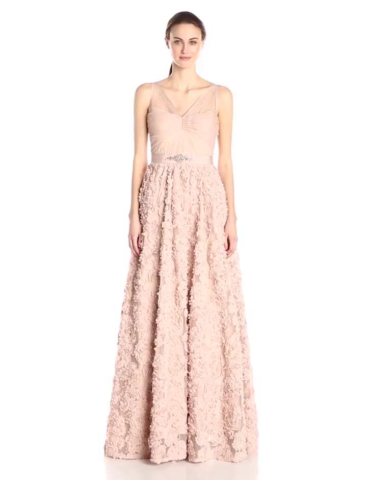 8a75f550e61a Amazon.com: Adrianna Papell Women's Sleeveless Tulle Chiffon Petal Gown:  Clothing