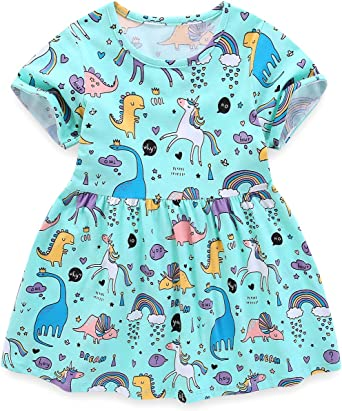 Toddler Infant Kids Baby Girls Floral Print Summer Dress Casual Dresses 0-1Y