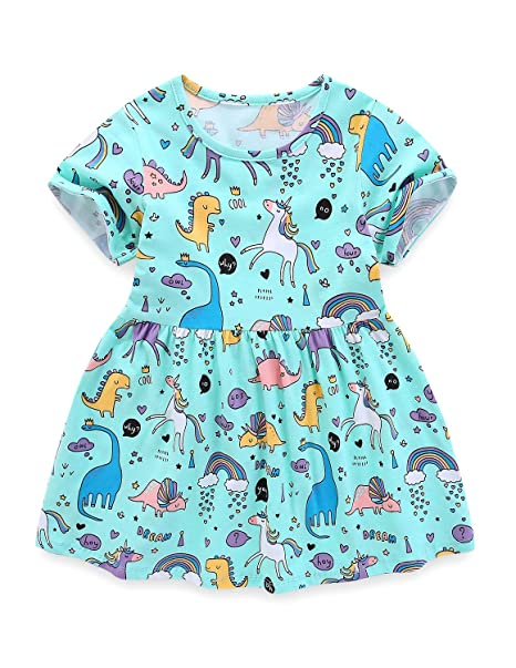 c32458c34 AuroraBaby Girls Dresses 100% Cotton Casual Dress for Toddler Kids Print