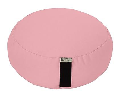 Bean Products Pink - Round Zafu Meditation Cushion - Yoga - Organic 10oz Cotton - Organic Buckwheat Fill - Made in USA