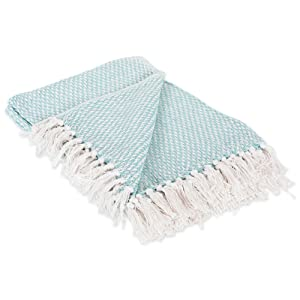 DII 100% Cotton Basket Weave Throw for Indoor/Outdoor Use Camping BBQ's Beaches Everyday Blanket, 50 x 60, Woven Aqua