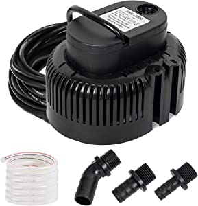 Xiny Tool Swimming Water Pool Cover Pump, 800GPH Small Sump Pump Submersible Above Ground and In Ground Pool Cover Water Pump with 16 Foot Heavy Duty Drainage Hose and 3 Different Size Hose Adapter