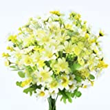 Turelifes 4pcs Artificial Flowers Bouquets Fake Mini Daisy Flower 7 Branches 28 Heads Silk Floral for Office Home Wedding Decoration (Green white)