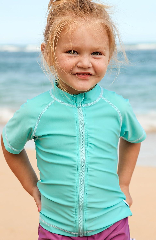 SwimZip Sweet Splasher Short Sleeve Girl Zipper Rash Guard SZI817A