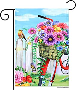 Welcome Spring Summer Bird Butterfly Flowers Double Sided Garden Flag 12x18, Bicycle Garden Flags for Yard Lawn Outdoor Decor