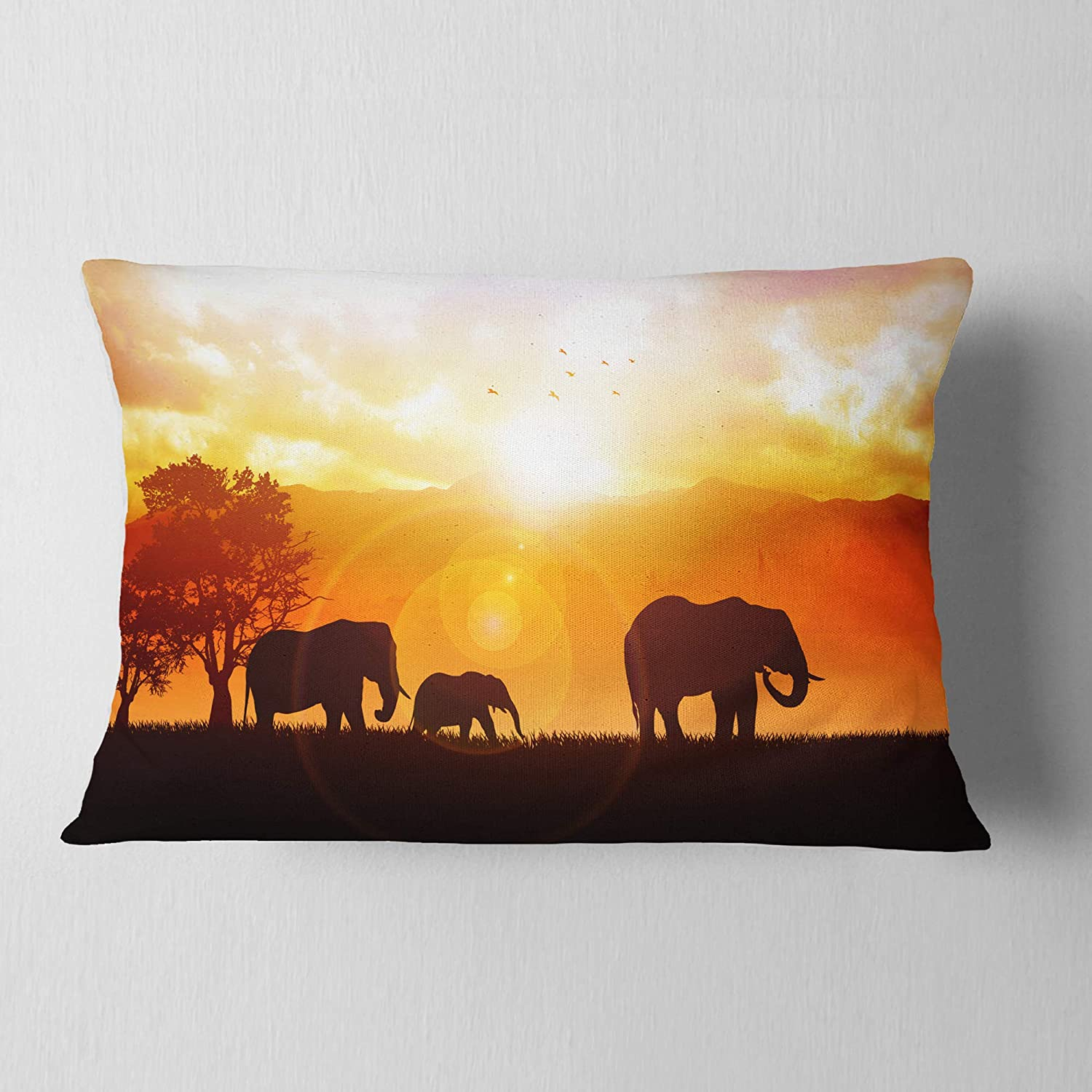 Sofa Throw Pillow 12 in Designart CU12963-12-20 Elephants Walking at Sunset African Lumbar Cushion Cover for Living Room Insert Printed On Both Side in x 20 in