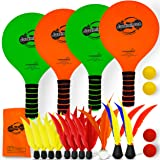 Funsparks Paddle Game Select Double - 4 Paddles 11 Birdies 4 Balls - A Must Have Racquet Game - Indoor Outdoor Toy