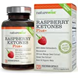 NatureWise Raspberry Ketones Plus+, Advanced Antioxidant & Green Tea Extract for Weight Loss, Appetite Suppression, Organic Kelp, Resveratrol, Vegan, Gluten Free, 120 count