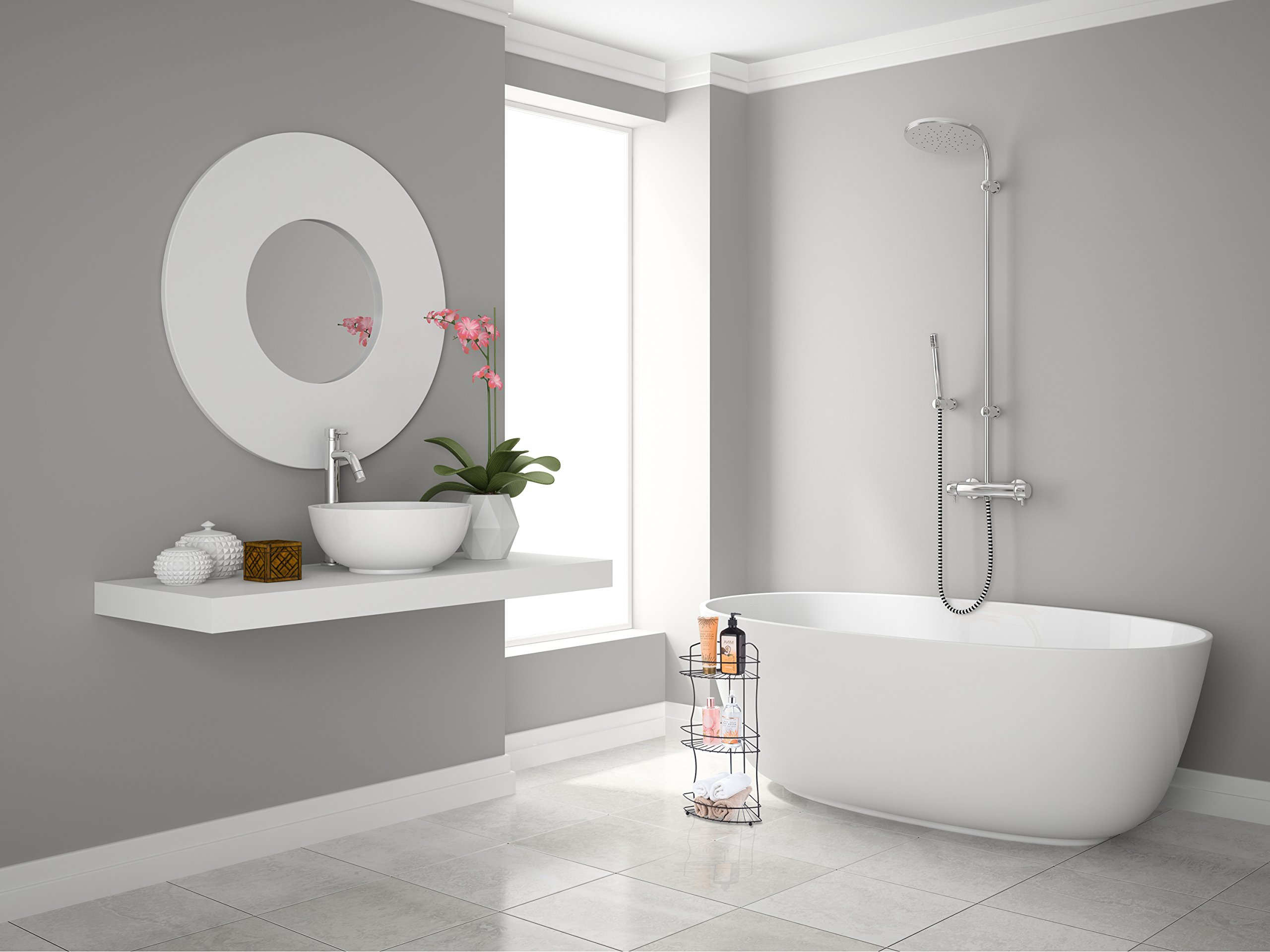 AMG and Enchante Accessories Free Standing Bathroom Spa Tower Floor Caddy, FC232-A BKN, Black Nickel by AMG (Image #3)