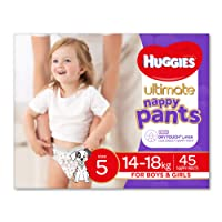 Huggies Ultimate Nappy Pants, Unisex, Size 5 (14-18kg), 45 Count