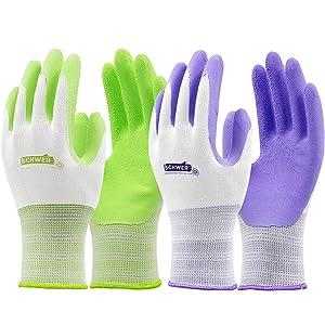 Schwer Gardening Gloves for Women Men 6 Pairs Latex Coated Garden Work Gloves for Digging Planting Weeding Seeding, Green & Purple(Medium)
