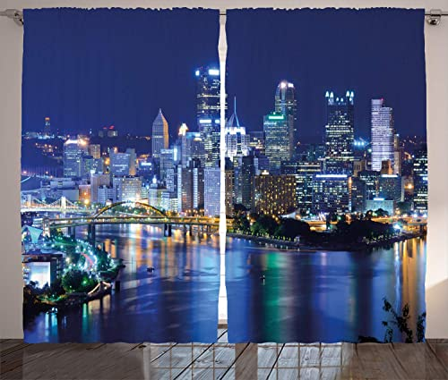 Ambesonne Cityscape Curtains, Skyscrapers Downtown Pittsburgh American Night Skyline Business Town Scenery, Living Room Bedroom Window Drapes 2 Panel Set, 108 X 96 , Grey Blue