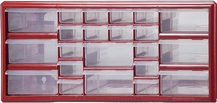 Stack On DSR 22 22 Bin Plastic Drawer Parts Storage Organizer Cabinet, Red