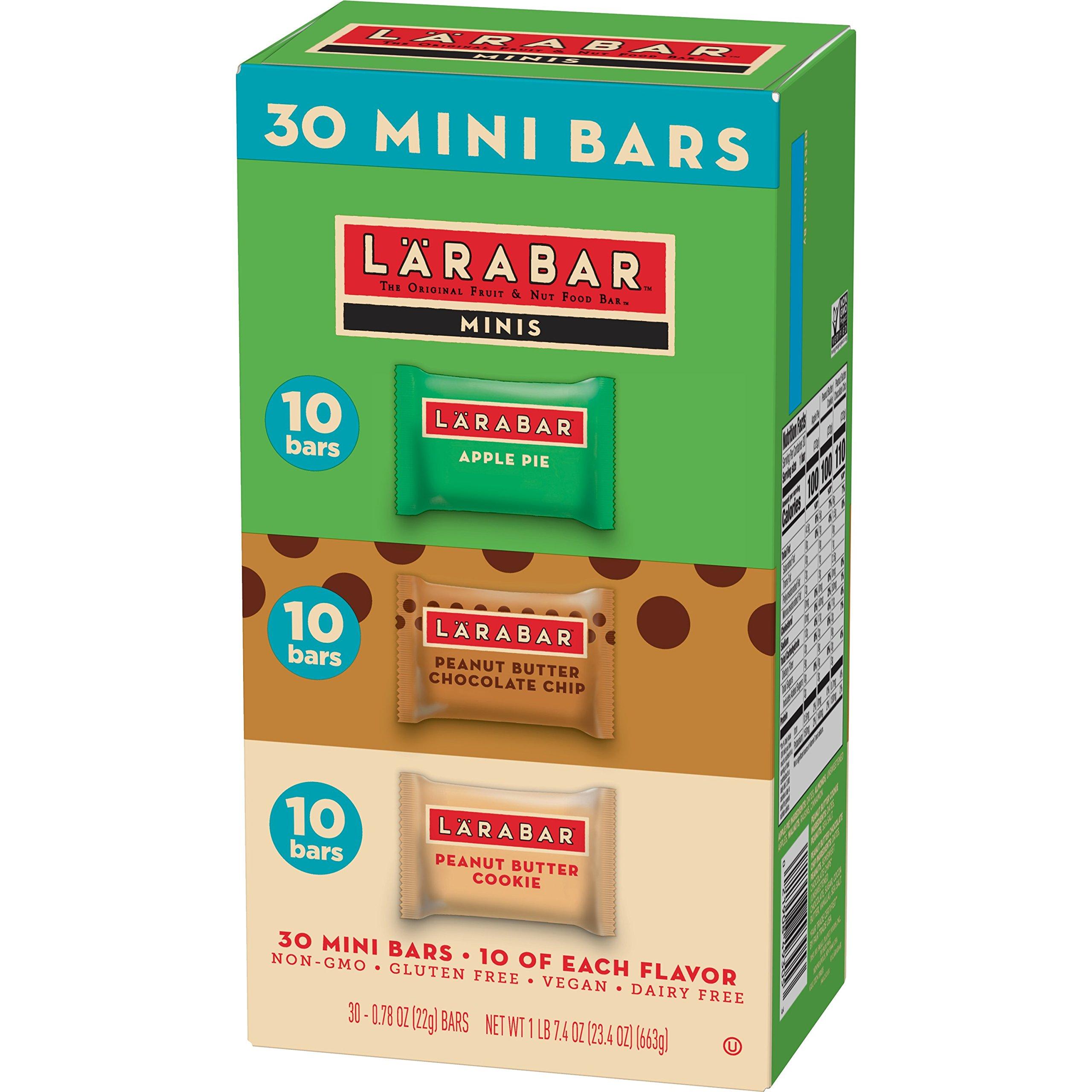Larabar Minis Gluten Free Bar Variety Pack, Apple Pie, Peanut Butter & Chocolate Chip Cookie, 0.78 oz Bars (30 Count), Vegan, Dairy Free, Gluten Free Snacks by LÄRABAR