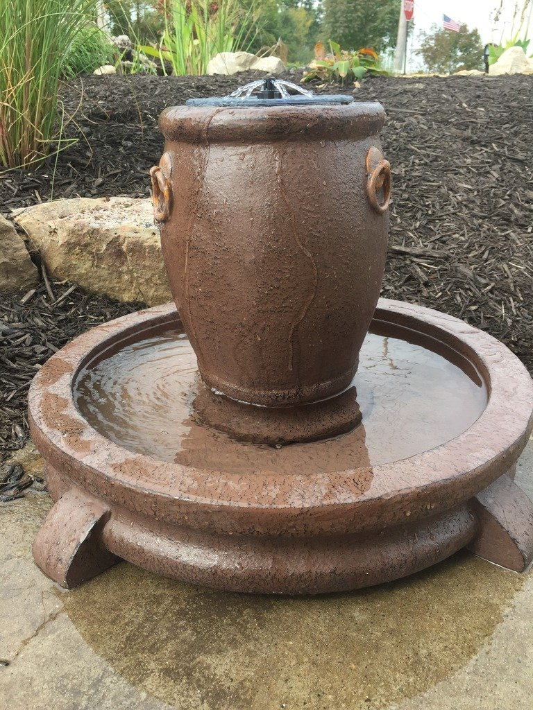 Patriot Overflowing Pot Solar Fountain and Bird Bath with LED Lights by Patriot