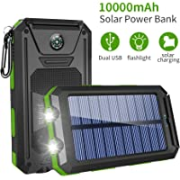 Solar Charger, 10000mAh Battery Solar Power Bank, Portable Panel Charger with Dual Super Bright Flashlights Phone Charger with 2 USB Output Ports, Battery Pack for Camping Outdoor for iOS Android