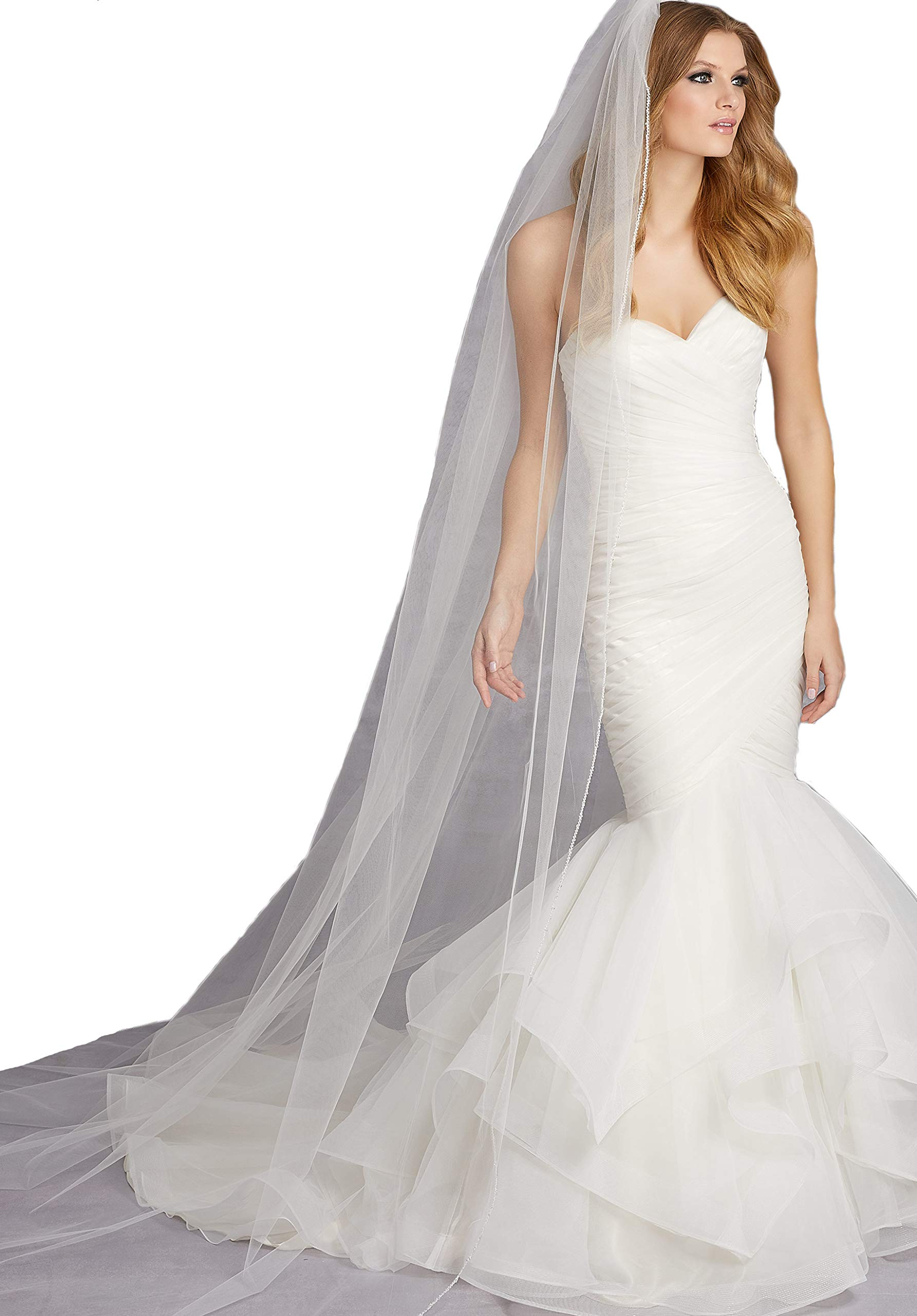 Passat Diamond White Single-Tier 3M Cathedral Veil Edged with Clear Beads and Crystals VL-1013