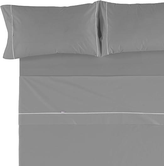 Es-Tela - Juego de sábanas liso con biés, color plomo, cama de 150 ...
