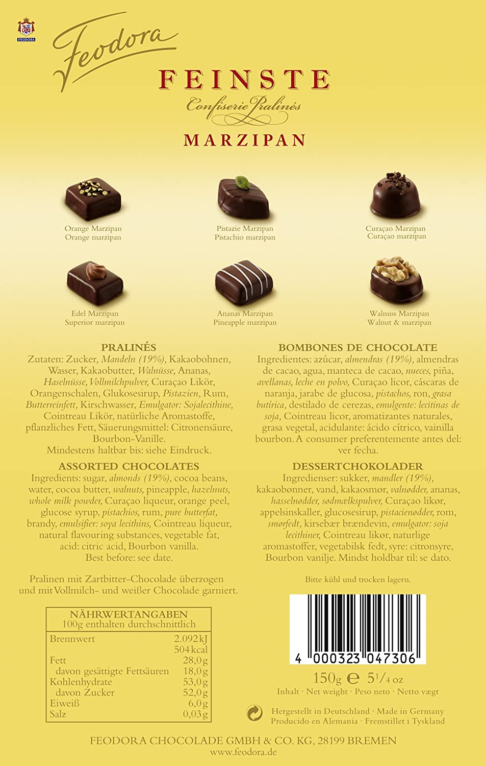 Amazon.com : Feodora Feinste Confiserie-Pralinés Marzipan, 1er Pack (1 x 150 g) : Chocolate Assortments And Samplers : Grocery & Gourmet Food