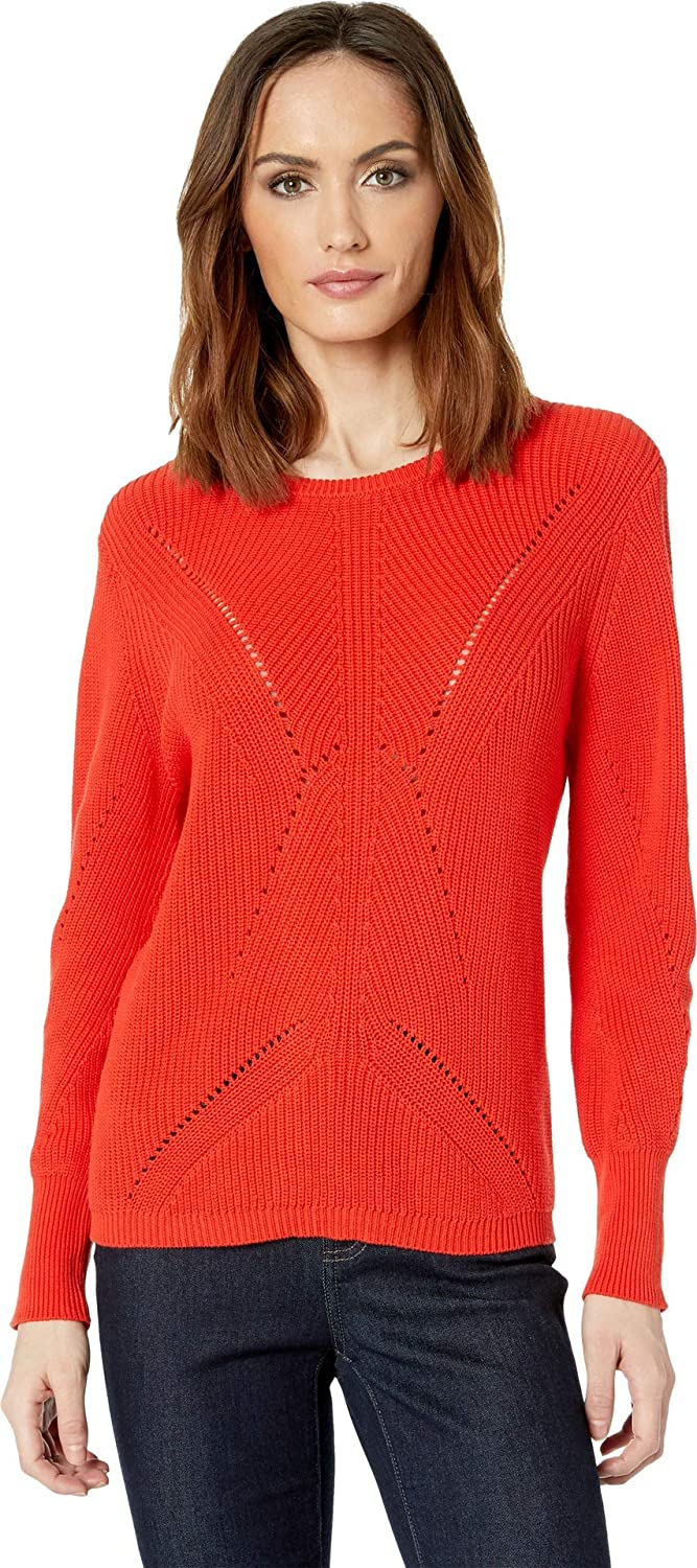 Mandarin Red Vince Camuto Womens Long Sleeve Lace Back Mock Neck Cable Sweater