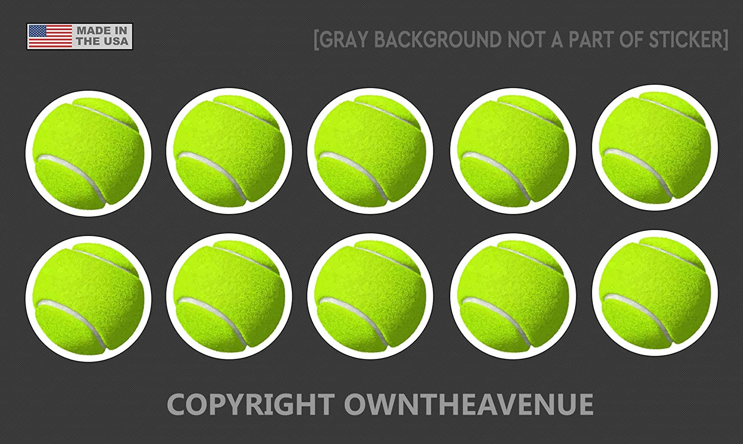 """OwnTheAvenue Tennis Ball Vinyl Sticker Decal Pack Lot of 10 for Car Laptop Bumper Window 1.5"""""""