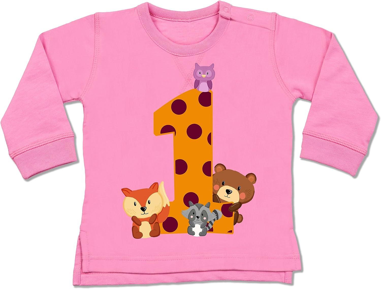 1 Geburtstag Baby Geburtstag Waldtiere Shirtracer Baby Pullover