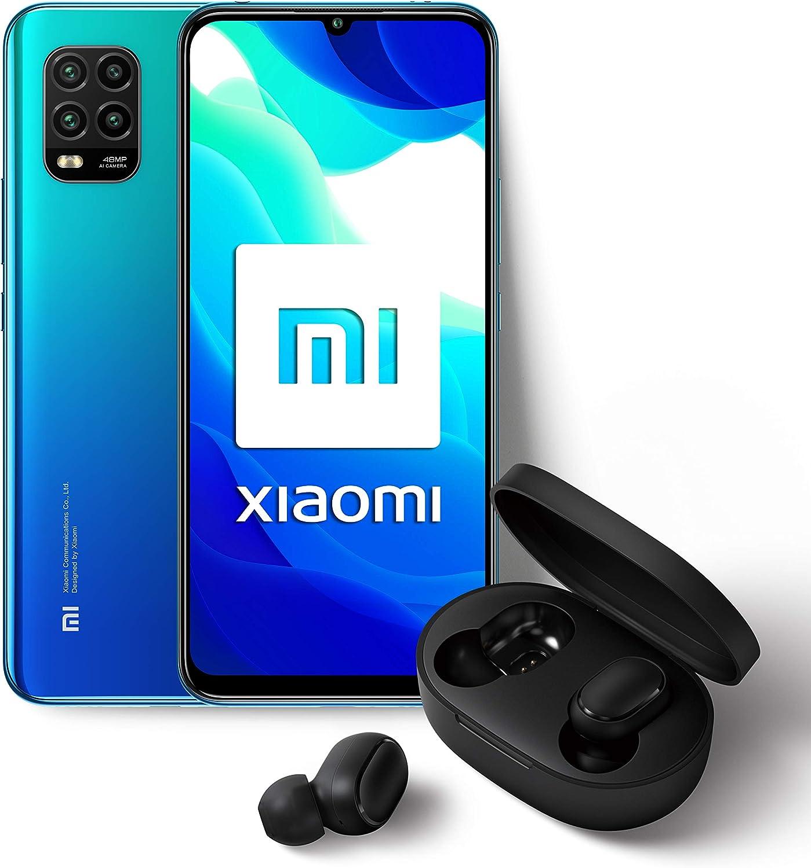 """Xiaomi Mi 10 Lite - Pack Lanzamiento (Pantalla AMOLED 6.57"""", TrueColor, 6 GB+128 GB, Cámara de 48 MP, Snapdragon 765G, 5G, 4160 mah con carga 20 W, Android 10) Azul + Mi True Wireless Earbuds S"""