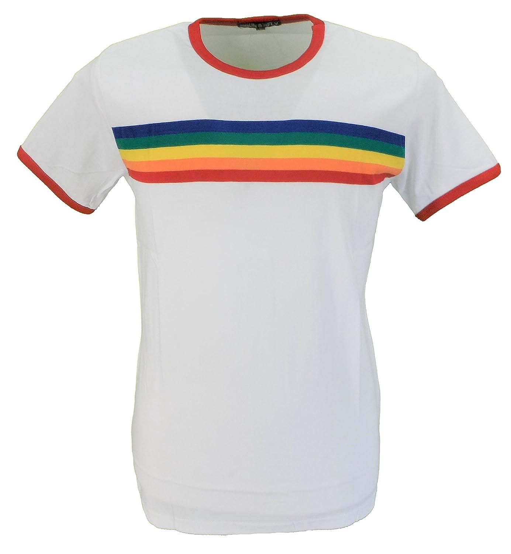 c6ab675254 mazeys Mens White Retro Rainbow Striped T Shirt: Amazon.co.uk: Clothing