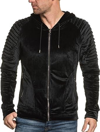 PROJECT X Sweat zippé Noir Velour à Capuche Homme