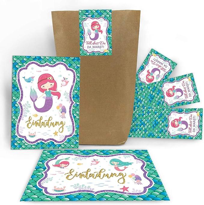 Einladungskarten fünfte 5 Geburtstag Einhorn mit Mitgebsel Gastgeschenk Umschlag