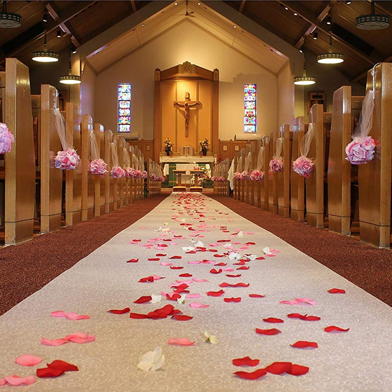 0.7mm White Flower Print Aisle Runner Wedding Decoration 30 Meters White One Time Use Aisle Runner Long Carpet for Even Décor