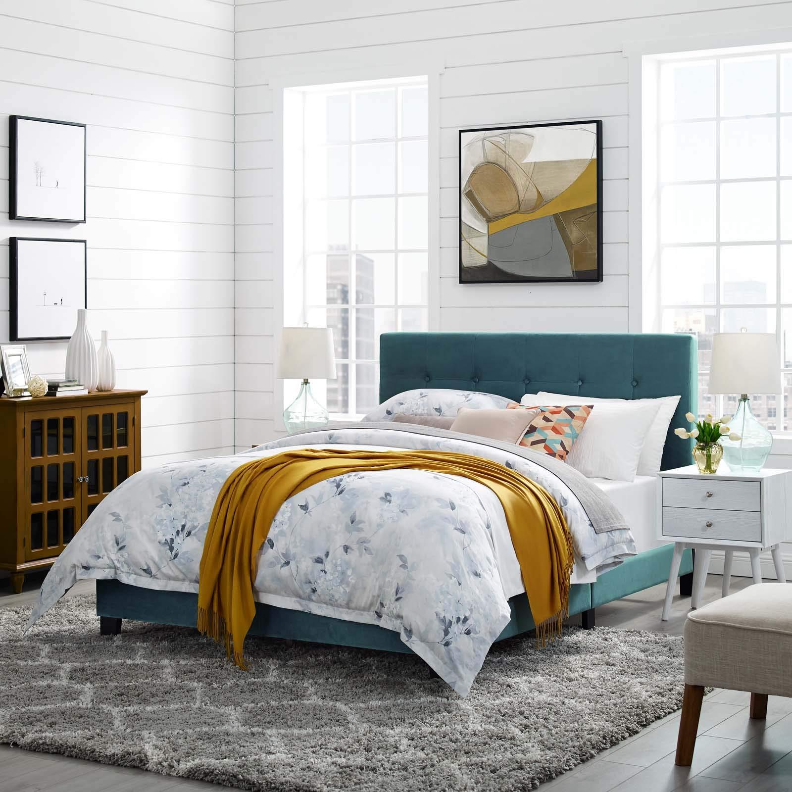 Modway MOD-5859-SEA Amira Full Upholstered Velvet Bed, Sea Blue