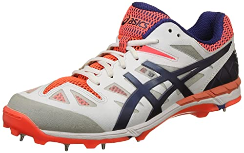 ASICS Men's Gel Odi White, Navy and Neon Orange Mesh Cricket Shoes - 10 UK
