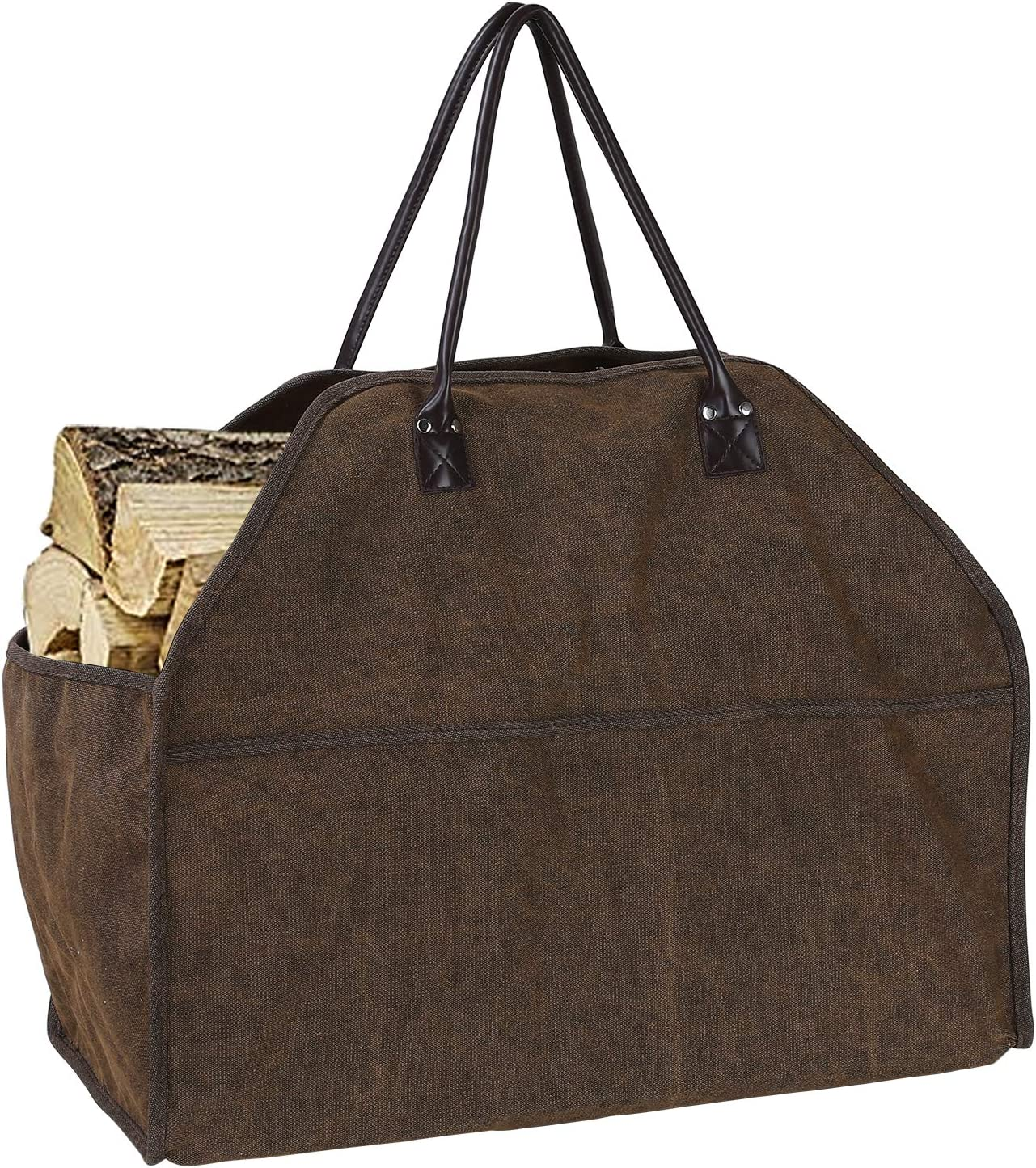 femor Log Carrier, Canvas firewood Bag, firewood Holder, Fire Wood Carriers, Durable Wood Bag Heavy Duty,Fireplace Wood Stove Accessories Storage Bag for Fire Pit
