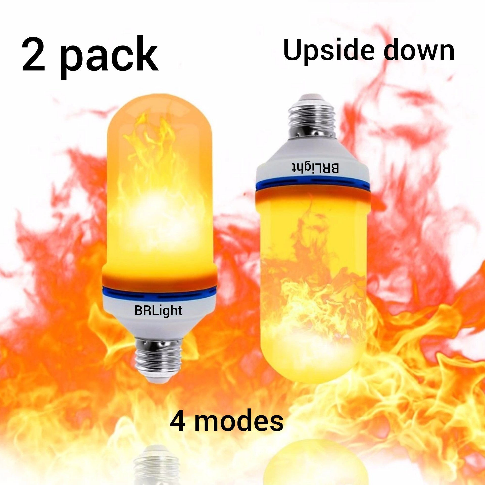 [2 Pack] Upside Down Feature Led Flame Effect Light Bulbs New Heat Sink Technology E26 105pcs 2835 LED Beads Decorative Light Atmosphere Lighting Vintage Flaming Lamp for Home by BRLight
