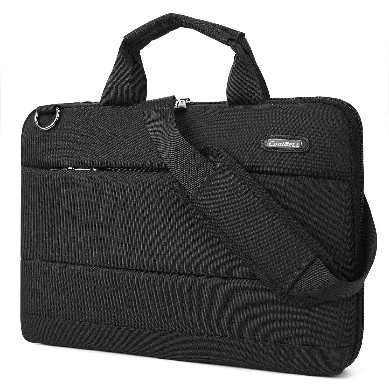 CoolBELL Laptop Shoulder Bag 15.6 inch Messenger Bag Lightweight Sleeve Bag Slim Briefcase Nylon Protective Handbag For HP/Acer/Macbook/Asus/Lenovo/Laptop/Ultra-book/Men/Women (Black)