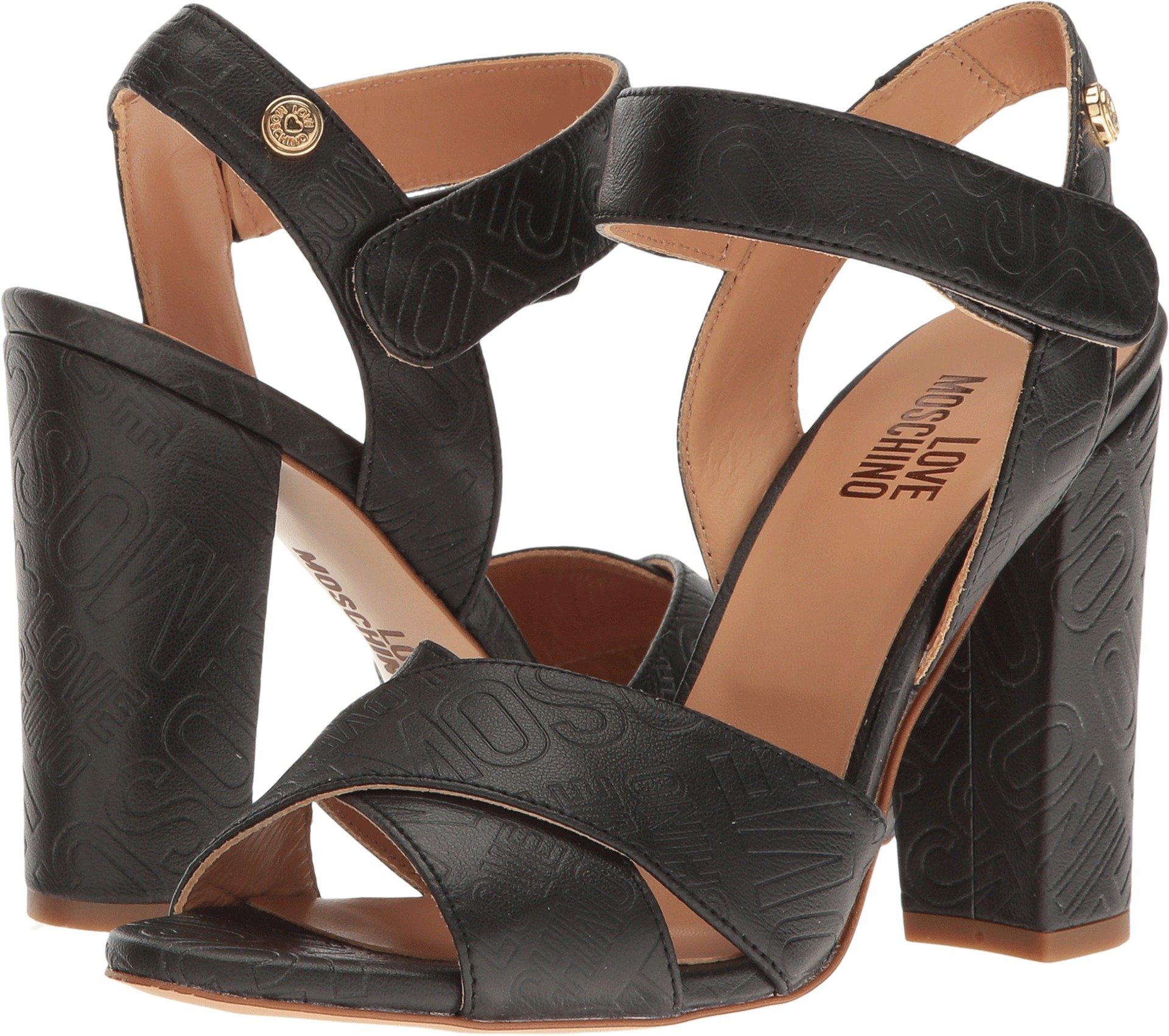 LOVE Moschino Women's Embossed Logo Heel Black Sandal