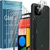 TOCOL 6 Pack Compatible with Google Pixel 5, 3 Pack Tempered Glass Screen Protector and 3 Pack Tempered Glass Camera Lens Pro